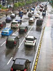 Rainy traffic jam