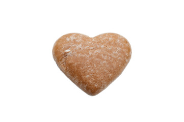 ginger bread heart isolated on white