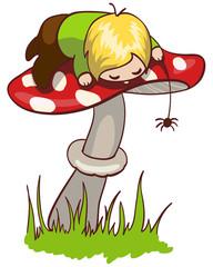 Little boy on a mushroom