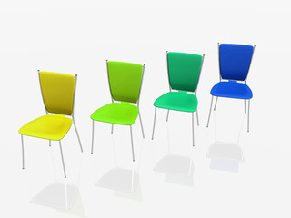 group of chairs stand in a row