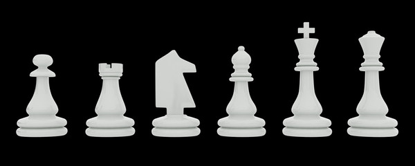 White chess pieces isolated on black background