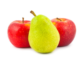 Red apples and green pear