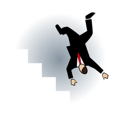 Business symbol-man falling on stairs