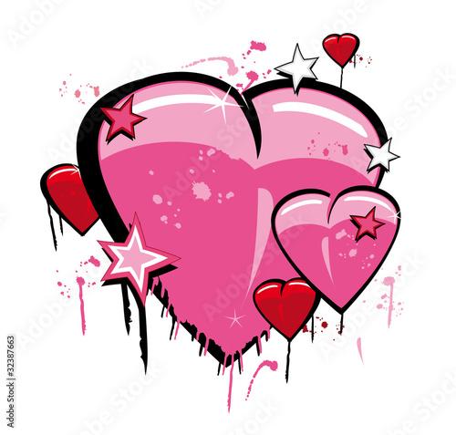 Graffiti Love Heart Pop Art Illustration Stock Photo And