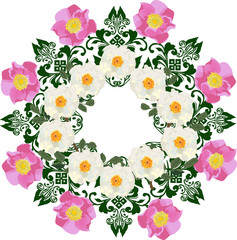 pink and white brier flowers round design