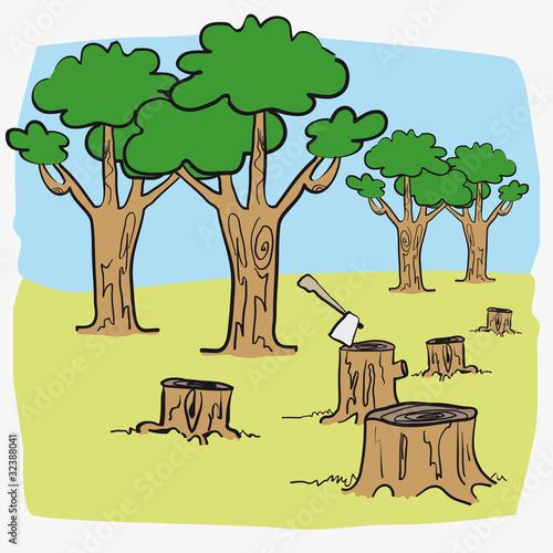 """Illustration deforest sawyer saw sawing vector cartoon"