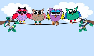 Poster Vogels, bijen colourful owls sitting on a rope