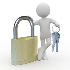 Man leaning on a huge padlock with keys in hand