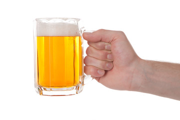 Hand with glass of beer