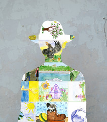 Silhouette of children's drawings.