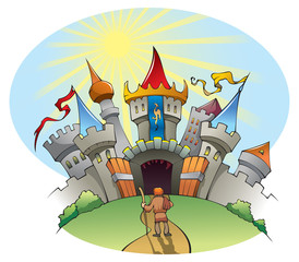 Poster Castle A man standing before bright and jolly city, vector