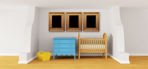 Baby bedroom with a crib and picture's frames