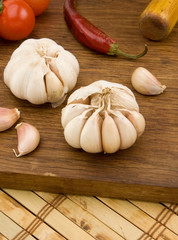 set of garlic nutrition and healthy food