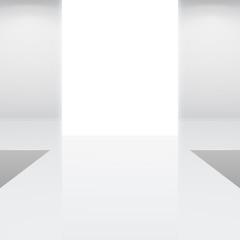 white interior fashion podium