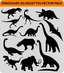 vector pack with 13 dinosaur silhouettes