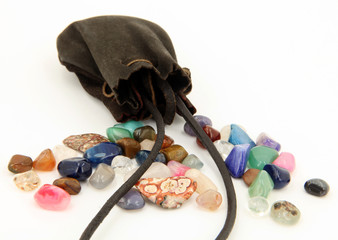 Semi Precious Stones and suede Pouch