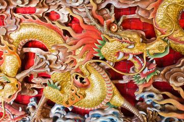 Beautyful dragon wooden sculpture.