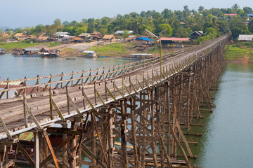 Thailand Longest Traditional Wooden Bridge Sangkhlaburi
