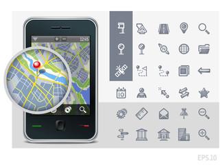 gps phone interface icons