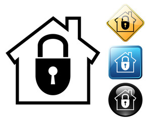 Secure home pictogram and signs