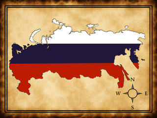 Map of Russia with a flag on the old background