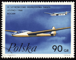 Glider world championship in Leszno-1968 on post stamp