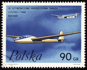 Glider world championship in Leszno-1968 on post stamp
