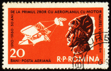 First airplane by Aurel Vlaicu on post stamp