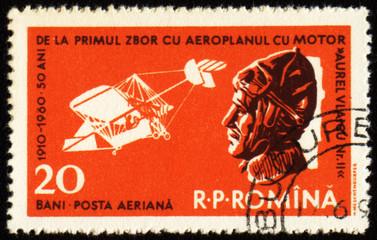 First airplane by Aurel Vlaicu on post stamp