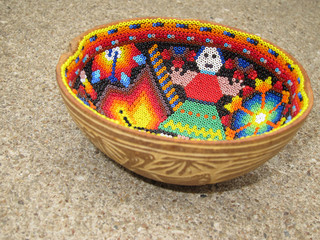 Mexican beaded decorative huichol gourd