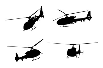 helicopter silhouettes - vector