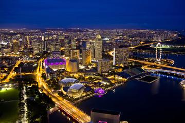 Foto op Plexiglas Singapore Singapore skyline in evening
