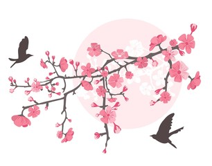 Cherry tree with flower and birds
