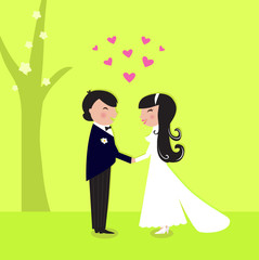 Outdoor wedding: couple have marriage in nature. VECTOR