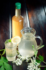 Elderflower juice and syrup