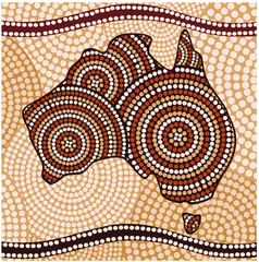 Map of Australia (painting in the Aboriginal style, abstract )