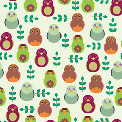 Seamless wallpaper with birds and leaves