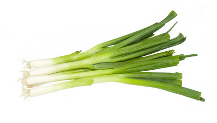 bunch of fresh onions on a white background