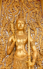 The art of carving vow church door, the Thai Temple.
