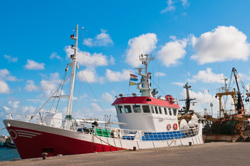shrimp fish trawler in the harbour