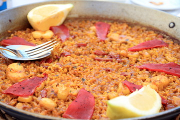 Traditional Valencian dish Arroz a banda with seafood Spain