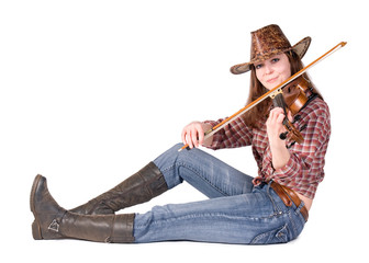 Country girl plays the viola