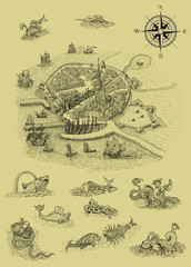 Old town compass and monsters illustration