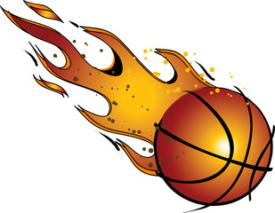 Flaming Basketball Vector Clip Art