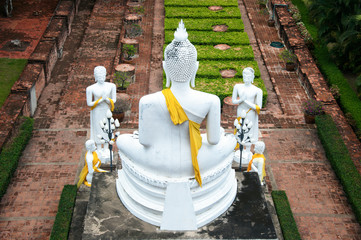 buddha image and his followers situated in garden