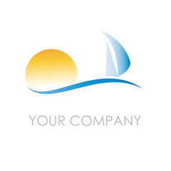 Logo seaside holidays, sailing # Vector