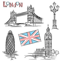 Papiers peints Doodle london landmark