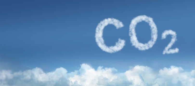Blue Sky with CO2 Cloud concept for Air Pollution / Emission