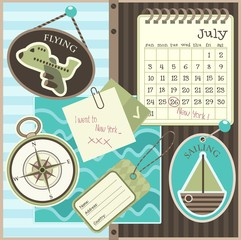 Travle scrapbook elements, vector