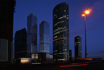 Skyscrapers of Moscow. Evening.